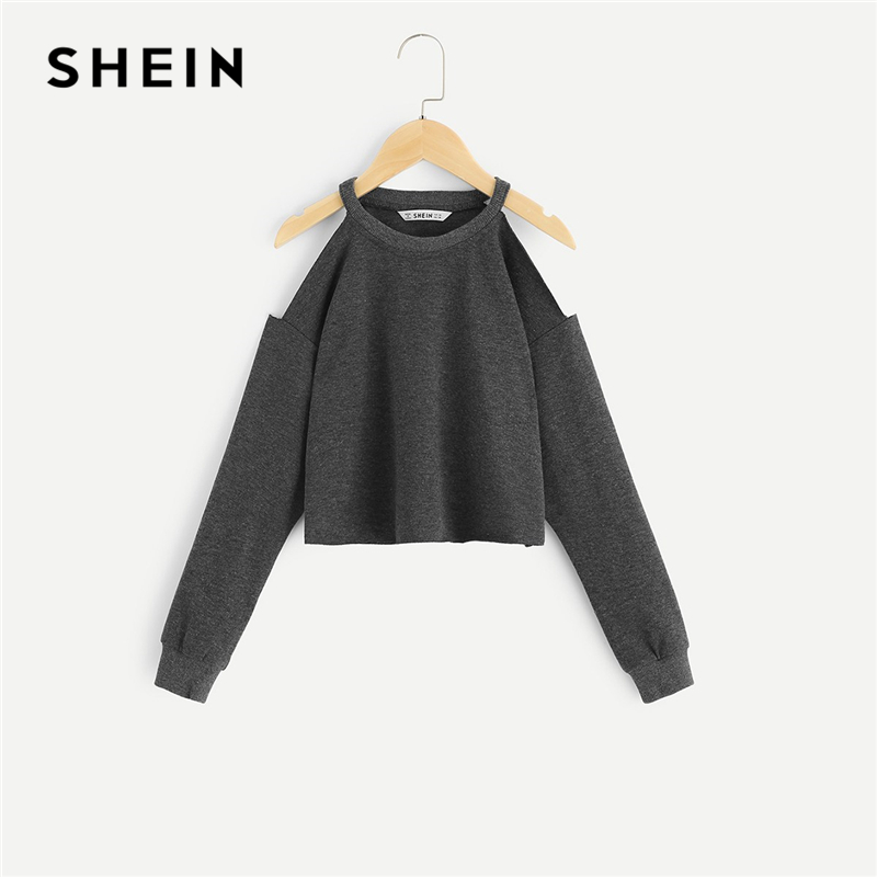 SHEIN Grey Solid Girls Cold Shoulder Casual Sweatshirts Girls Tops 2019 Spring Korean Fashion Long Sleeve Crop Hoodies For Girls beige lace up design cold shoulder long sleeves dress