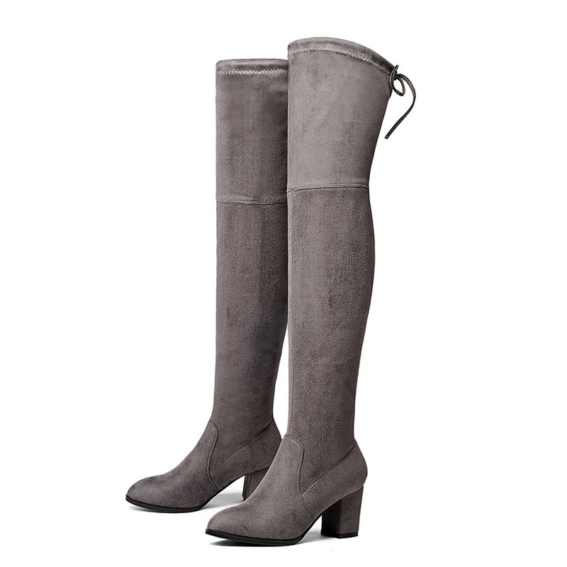 2018 Ladies Autumn/Spring Shoes Square High Heel Women Over The Knee Boots Scrub Black Woman Motorcycle Boots H-2142018 Ladies Autumn/Spring Shoes Square High Heel Women Over The Knee Boots Scrub Black Woman Motorcycle Boots H-214