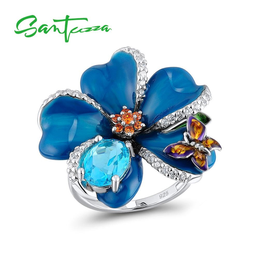 SANTUZZA Silver Flower Ring For Women 925 Sterling Silver Fashion Rings for Women Cubic Zirconia Ringen