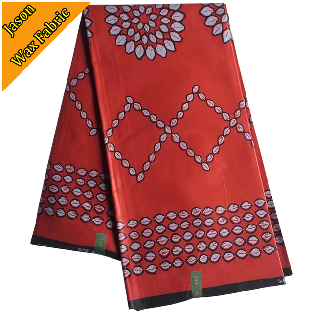 Guaranteed Super Java Prints Wax High Quality Print African Fabric Red Color