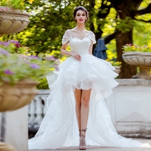 Short Front Long Back Lace Wedding Dresses 2019 Sweetheart Summer Sheer Short Sleeve Bridal Gowns vestido de noiva Custom Made