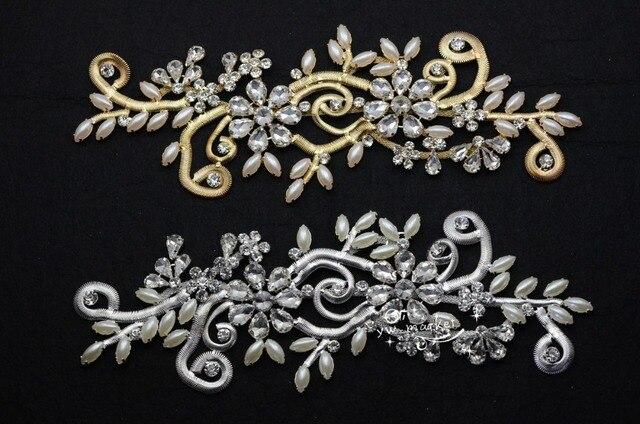 Pz costume dress applique di cristallo perle strass da cucire on