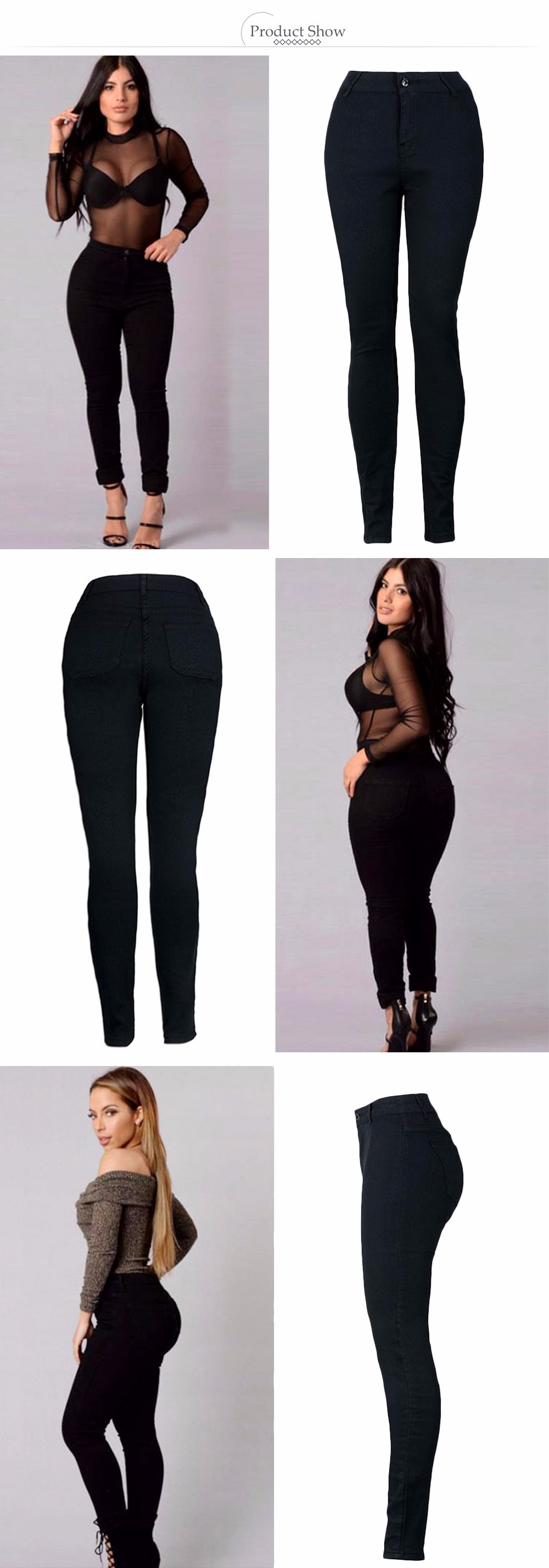 VESTLINDA Pants Women High Waist Elastic Solid Black Pants Denim Regular Sheath Long Pencil Pants Ladies Fashion Zipper Pant 1