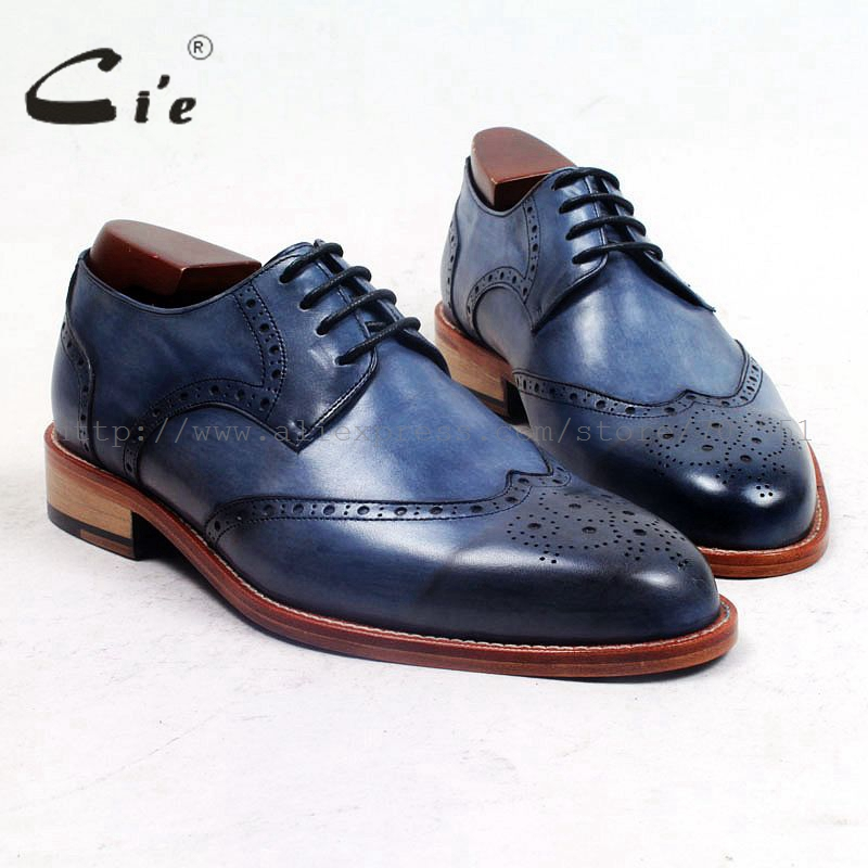cie round toe full brogues medallion patina blue custom handmade men's shoe genuine calf leather outsole breathable casual D158