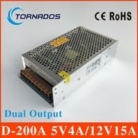 D-200A alta qualidade fonte de alimentação dupla saída 200 w 12V15A 5V4A poder suply ac dc conversor 5 V 12 V