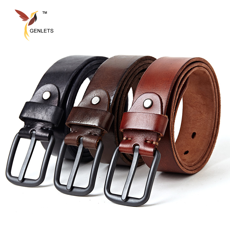 2017 new brand Luxury genuine leather belt men vintage leather belts mens jeans strap black color wide strapping waistband