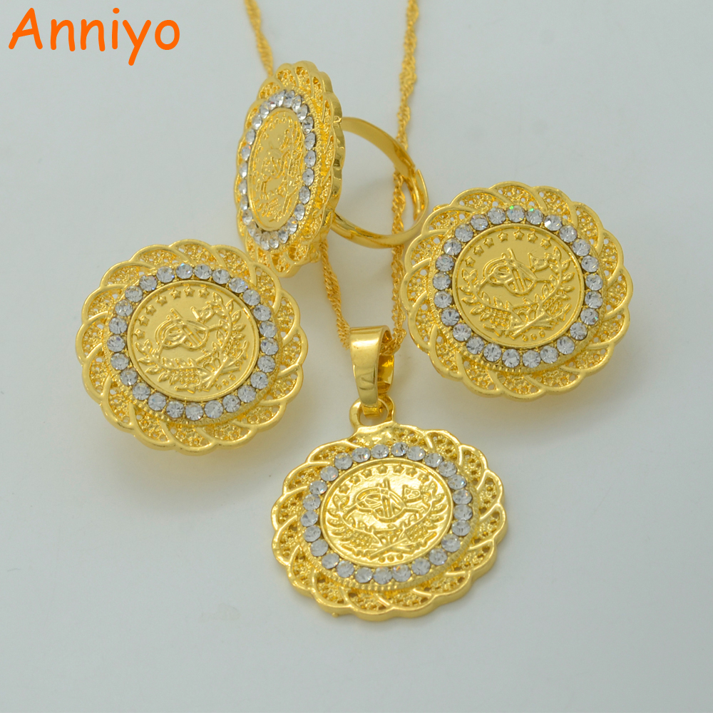 Anniyo Coin Jewelry Sets With Rhinestone Necklace Earring Ring Gold Color Turks Specie Arab/Africa/Middle East/Turkey #014906 цена