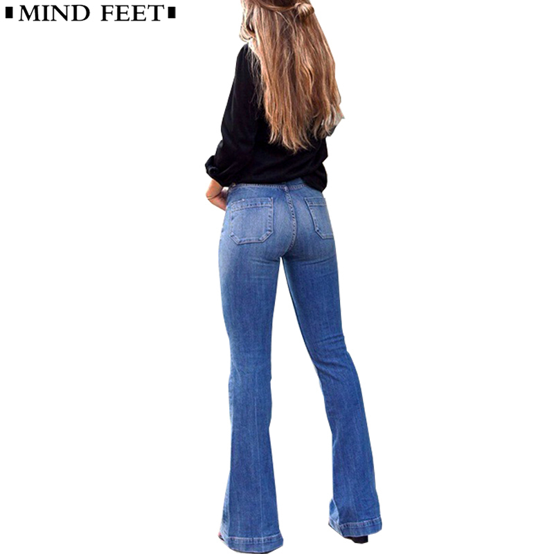 MIND FEET Women Flare   Jeans   Casual Slim Stretch Female Vintage Washed Skinny Long Wide Leg Denim Pants Ladies Spring Autumn