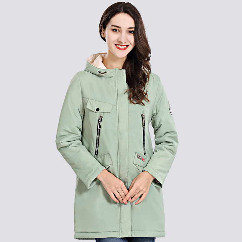 2019 Spring Autum New Women's Coat Windproof Thin Women Parka Long Plus Size Hooded High Quality Warm Cotton Jackets Outwear