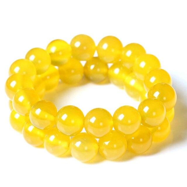 Yellow Stone Beads Bracelets Yellow Beige Natural Stones Crystal Quartz Bracelet Strand  Fashion Jewelry Wholesale