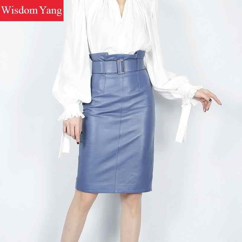אביב כחול אדום אמיתי אמיתי עור חצאית גבוהה מותן חגורת Midi חצאיות נשים Bodycon סקסי משרד גבירותיי עיפרון לעטוף חצאית