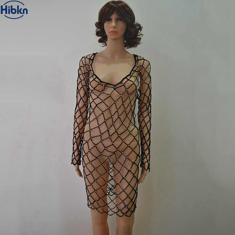 6ecd740db5 ... Mesh Solid Bikini Dress twinkling mesh Cover Up long sleeve beach dress  crochet handmade cover ups ...