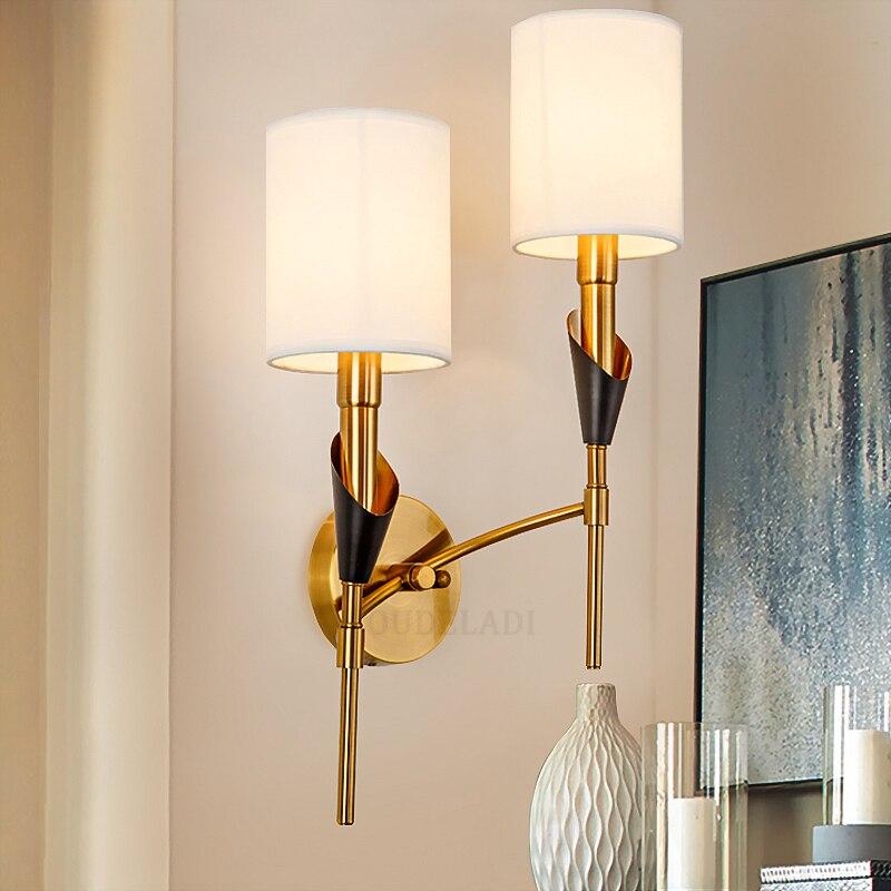 Lámparas De Pared Tela Doble Lujo Modernas Nórdicas Hierro Forjado Nnvm80w