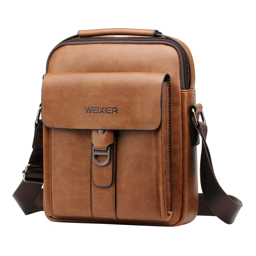 Briefcase Mens Leather Gentleman Fashion Simple Leisure Single Shoulder Messenger Bags