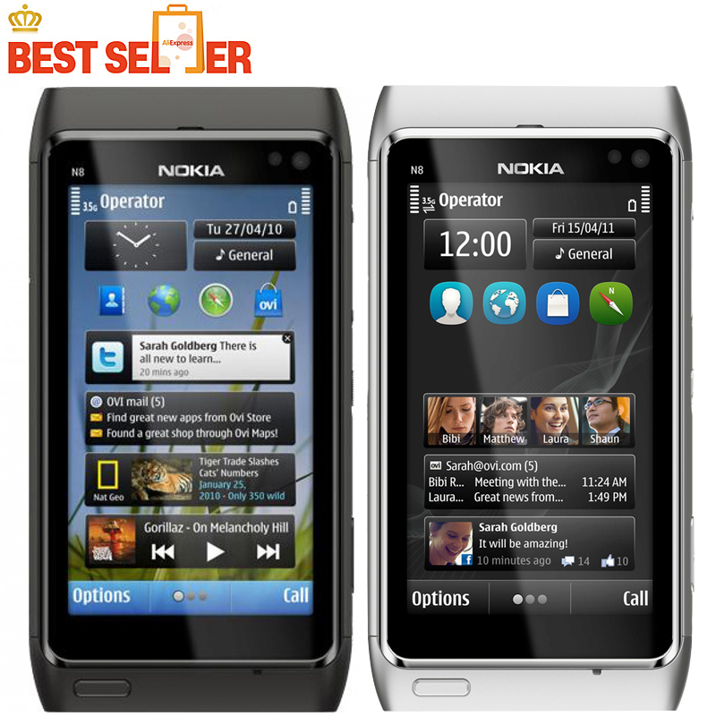 N8 Original Nokia N8 Mobile Phone 3.5 Touch screen 3G GPS WIFI Camera 12MP Unlocked Cell Phone Freeshipping