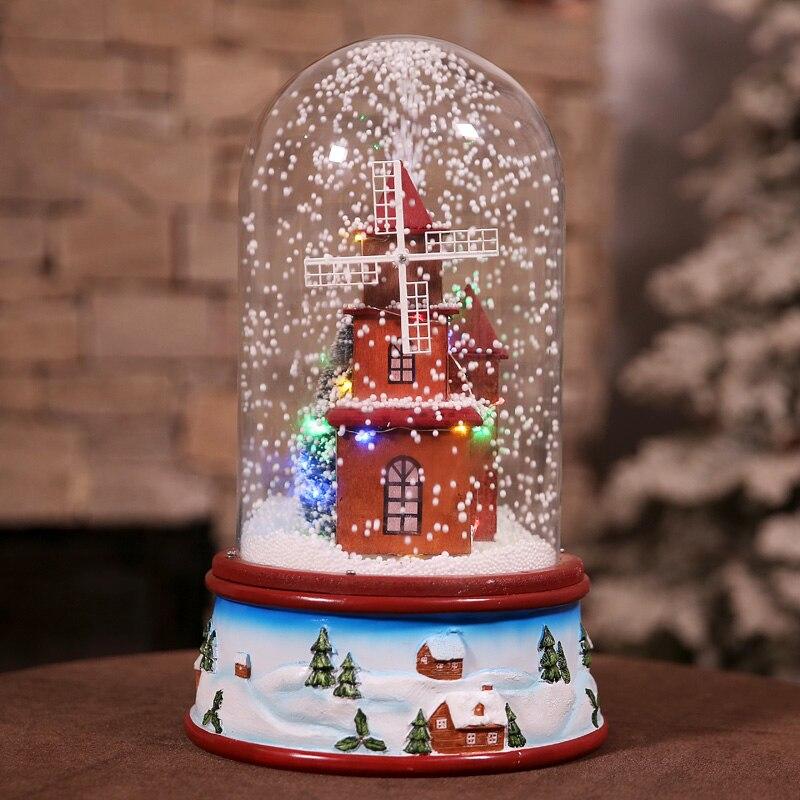 Venda quente mais novo 2019 presentes de natal com luzes de música flutuante cobertura de vidro de neve romântica véspera de natal pacote de presente correio