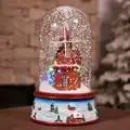 Vente chaude date 2019 cadeaux de noël avec des lumières de musique flottant neige verre couverture romantique noël Eve cadeau paquet Mail