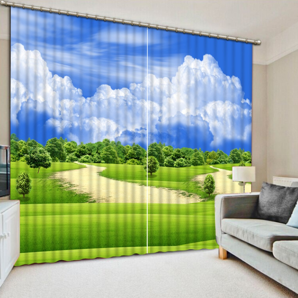 Hd Blue Sky And White Clouds 3d Curtains Landscape Window