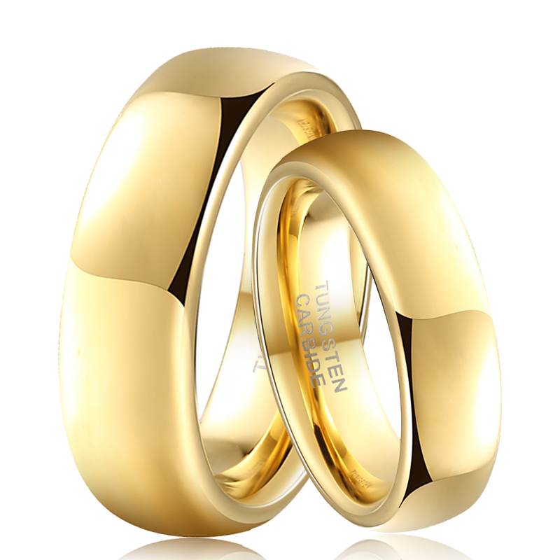 Rings Bride Gold Classic 6mm Tungsten for 8mm Groom Couple Date Name-Anniversary Custom