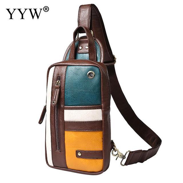 b2491994ae5a Wholesale Vintage Male Sling Bag Coffee Color Patchwork Soft PU Leather  Handbag Black Messenger Bag Multifunction Chest Bags