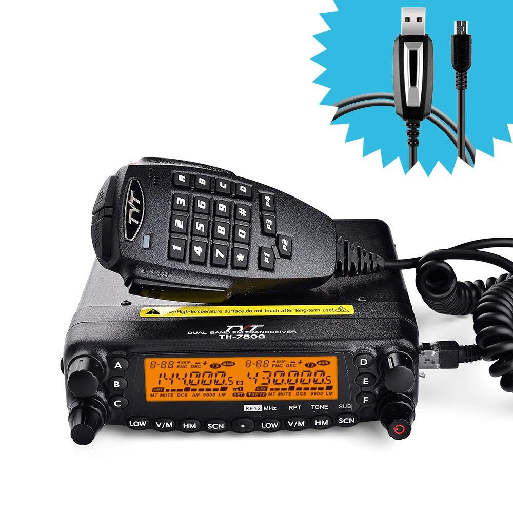 Nouveau TYT TH-7800 Voiture Radio Talkie Walkie Dual Band 136-174/400-480 mhz 50 w VHF/40 w UHF Émetteur-Récepteur Mobile Two Way Radio avec Câble