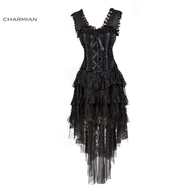 Charmian Women's Vintage Victorian Retro Corset Dress Burlesque Halloween Ruffle Lace Corset Black Dress Evening Party Dress