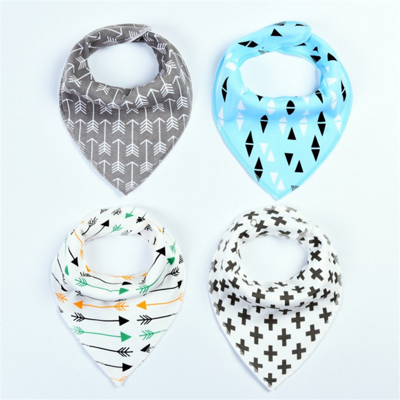 4Pcs/Lot Baby Bibs Different Styles Cotton Soft Kids Toddler Triangle Scarf Bib Cool Accessories Infant Saliva Towel 4