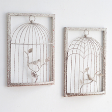 Rural metal three dimensional wall decoration creative retro iron cage clothing shop mural wall hangings