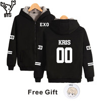 BTS EXO K pop Harajuku Hoodies Women Thicker Fluff Winter Coats Tao Hip Hop Sweatshirt Women Female Fans Fashion Zipper Clothes