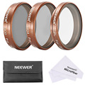 Neewer 3 Pcs Gold Filter Set for DJI Phantom 4/3 Professional+Advanced Quadcopter:Polarizer CPL+ND4+ND8 Filter+Case+cleaning