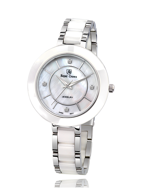 Royal Crown 6314 Italy brand Diamond Japan MIYOTA ceramics Quartz Wristwatches Diamond Dress Clock White Unique кольцо royal diamond