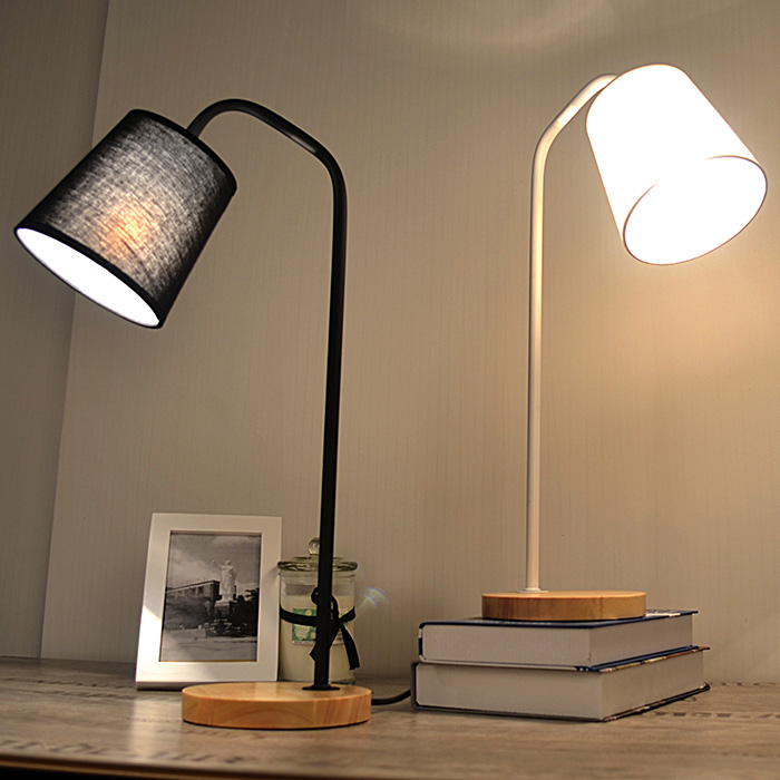 Loft Style Table Lamp Wood Metal Desk Lamp E27 Black White Lampshade Bedroom Bar Table Light Desk Light For Study WTL019 north european style retro minimalist modern industrial wood desk lamp bedroom study desk lamp bedside lamp