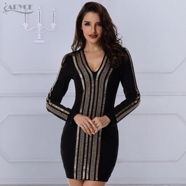 2018 Summer Dress Women Evening Party Dresses Luxury Gold Chain Long Sleeve V  neck Sexy Celebrity 7a070a179