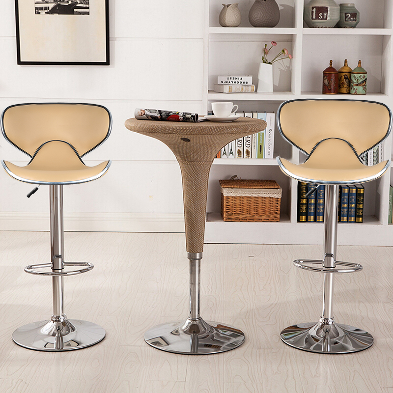 2Pcs PU Leather Modern Adjustable Swivel Barstools Hydraulic Chair Bar Stools