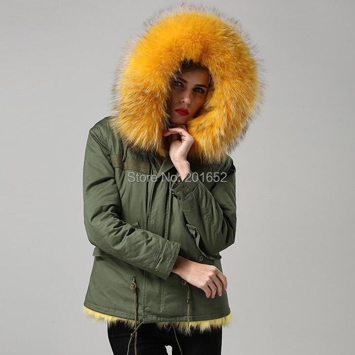 Veste Manteaux Hiver Manteau Jaune Femmes De Naturel Mince Fourrure Vert Couleur M Les Réel Renard Armée Pour AA5RcH7q