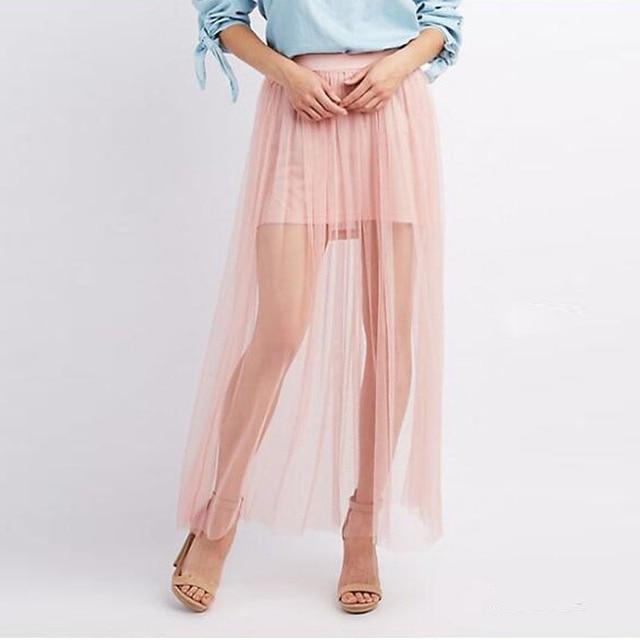 79ebff4ba € 15.74 8% de DESCUENTO 2017 moda Boho sobrecapa tul Maxi Faldas semi Sheer  tobillo longitud Tutu falda mujeres elástico estilo del verano falda ...