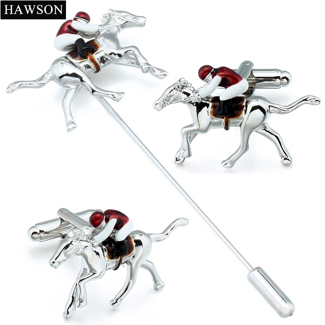 Novelty Horseback Riding Cufflinks Sporty Horse Race Lapel Pin Red Enamel Jewelry Birthday Gift For Colleague