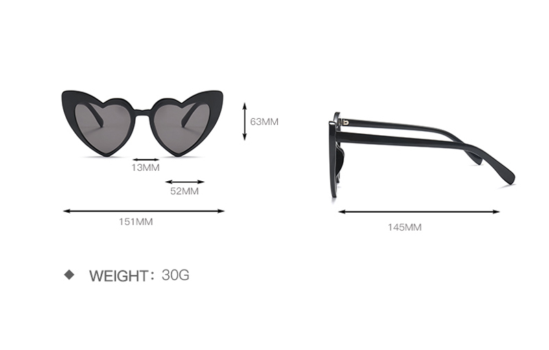 love heart sunglasses women cat eye vintage 7112 details (1)