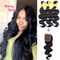 7A Unprocessed Brazilian Body Wave Virgin Hair 3Pcs With Closure Halo Lady Natural Black Human Hair Bundles With Lace Closures