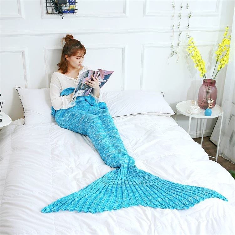 Fashion Adult Comfortable Water Wave Mermaid Tail Blanket Imitation Cashmere Breathable Skin Friendly Blankets Sweet Girl Gift