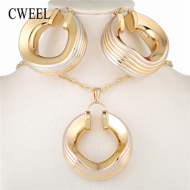 Cweel Hoop Earrings Pendant Trendy Jewelry Sets Women S Copper For Party Wedding Fashion Nigerian Costume