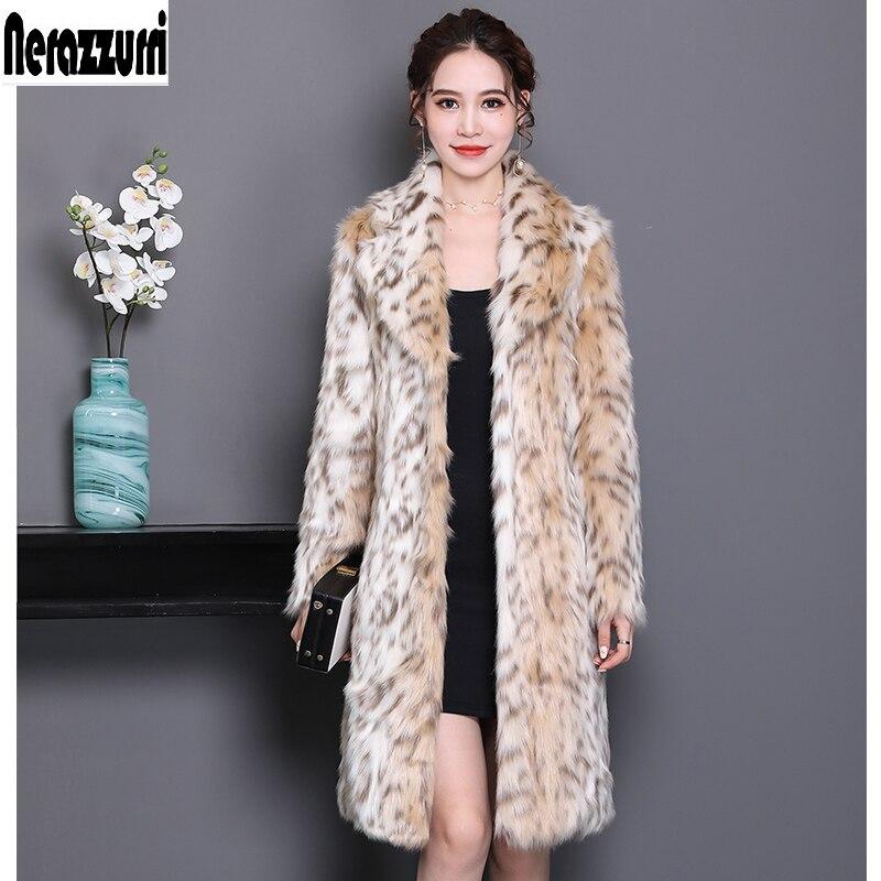 Nerazzurri Leopard print coat women turn down collar long plus size leopard fur coat 6xl 7xl