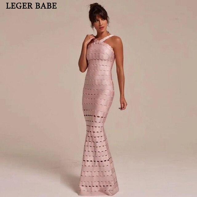 Glamorous Mermaid Perban Gaun Gaun Seksi Halter Gaun Pesta Panjang