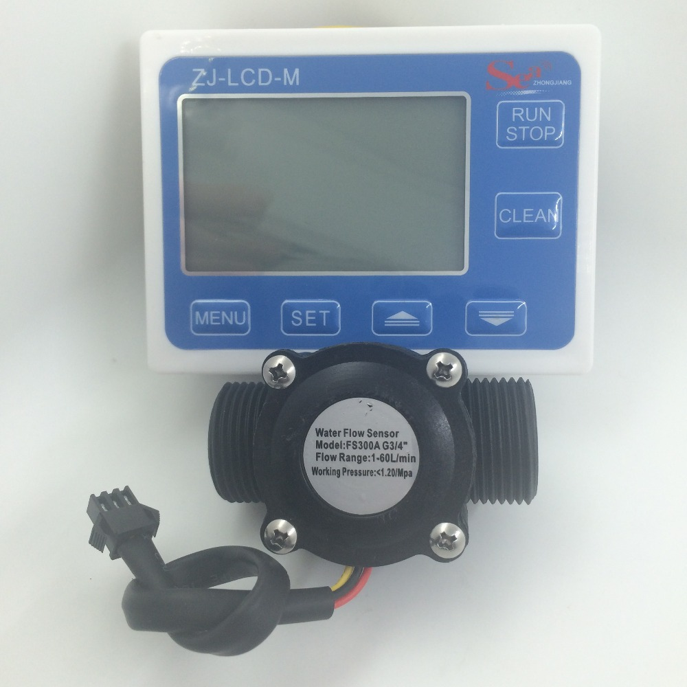 Water Flow Meter Sensor Controller LCD Display + Flow Sensor Meter Counter Gauge FS300A G3/4 DN20 1-60L/Min