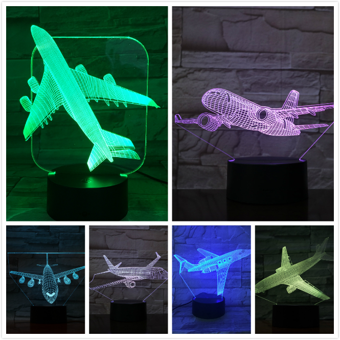 Airplane Model USB 3d Led Night Light Illusion Lampara Aeroplane Kids Gift gece lambas Passenger Plane Table Lamp Bedside image