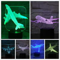 Modèle d'avion USB 3d Led veilleuse Illusion Lampara avion enfants cadeau gece lambas passager avion lampe de Table chevet