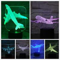 Modelo de avión USB Luz De noche LED 3D ilusión Lampara aeroplano niños regalo gece lambas avión de pasajeros lámpara de mesa