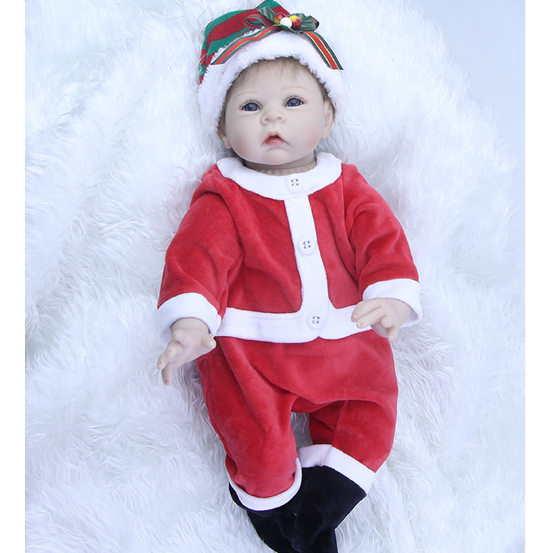 New Fashion 22 Inch Newborn Reborn Baby Doll Soft Silicone Lifelike Alive Babies Dolls With Blue Eyes Kids Christmas Gift can sit and lie 22 inch reborn baby doll realistic lifelike silicone newborn babies with pink dress kids birthday christmas gift
