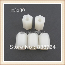 100pcs m3*30 plastic female spacer nylon long hex nut