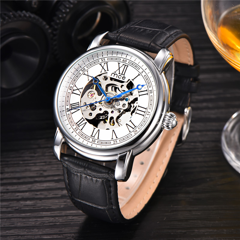 где купить  MCE Brand Automatic Watch Mens Leather Band Self Winding Watches Men Skeleton Mechanical Wrist Watch Automatico Relogio  по лучшей цене